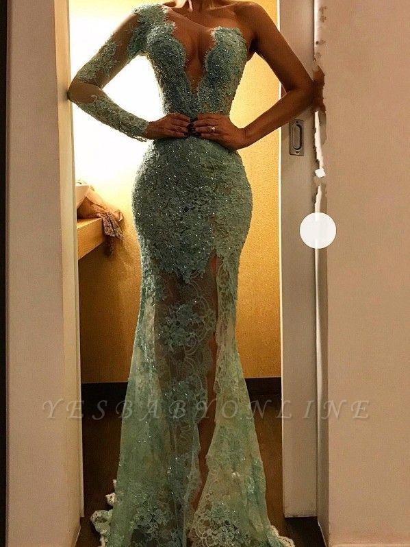 Elegant One-Shoulder Mermaid Evening Dresses   Side Slit Appliques Prom Gowns