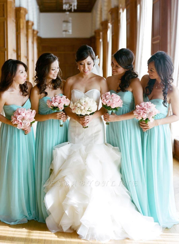 Sweetheart Sleeveless Chiffon Elegant Bridesmaid Dress