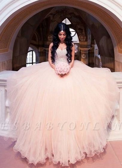 Sleeveless Puffy Crystals Arabic Sweetheart-Neck Wedding Dresses