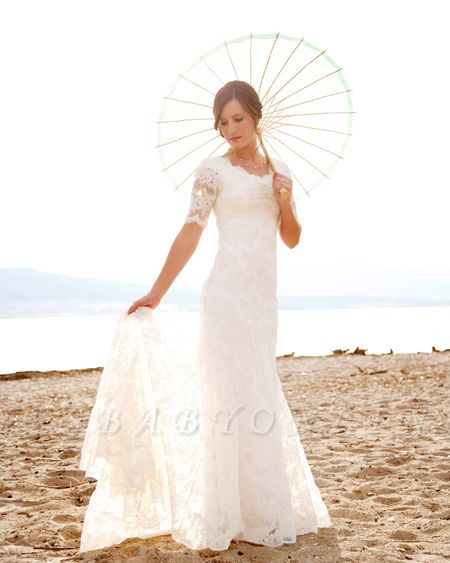 Scoop-Neck Short-Sleeves Sheath Style Lace Sweep Train Chic Wedding Dress