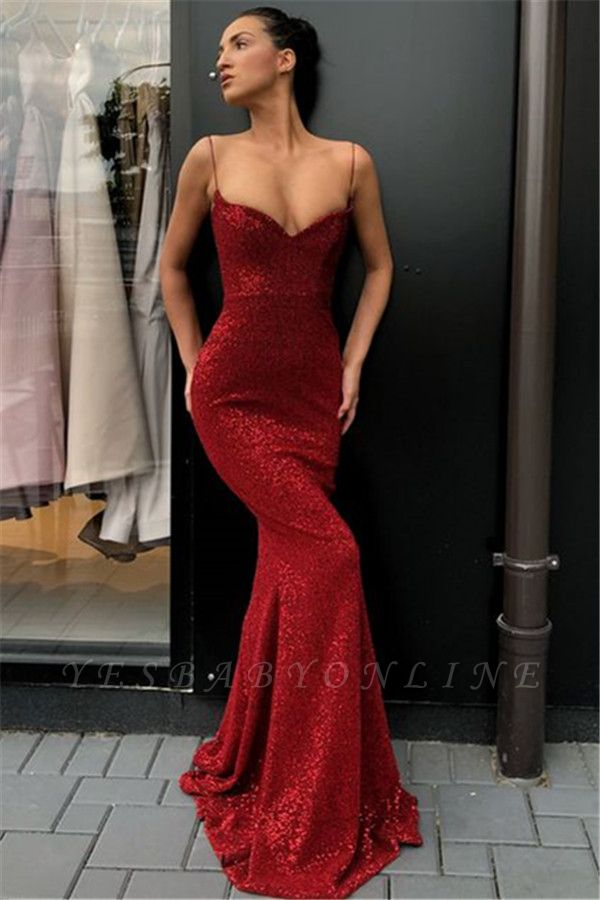Sexy Simple Sheath Sequins Long Evening Dresses | Cheap Spaghetti Straps Evening Dresses 2019 BC0920