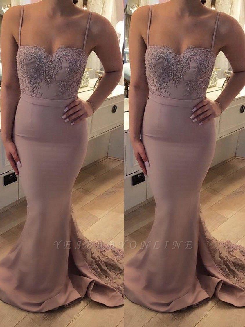 Bretelle Sweep Train Sexy Lace Spaghetti Prom Dresses