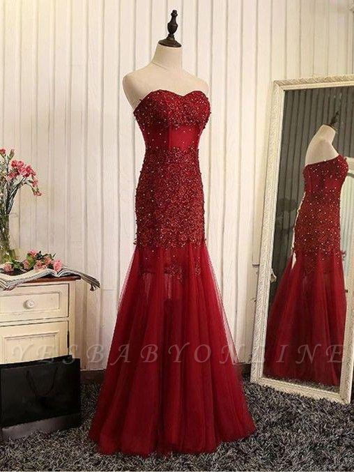 Beaded Brilliant Sweetheart  Sleeveless Mermaid Lace-Applique Prom Dresses