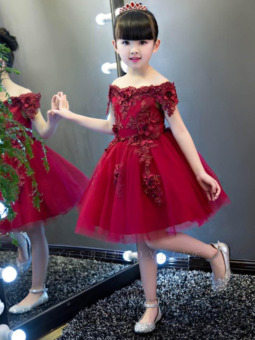Lovely A-Line Tulle Off-The-Shoulder Short Sleeves Knee-Length Flower Girl Dress