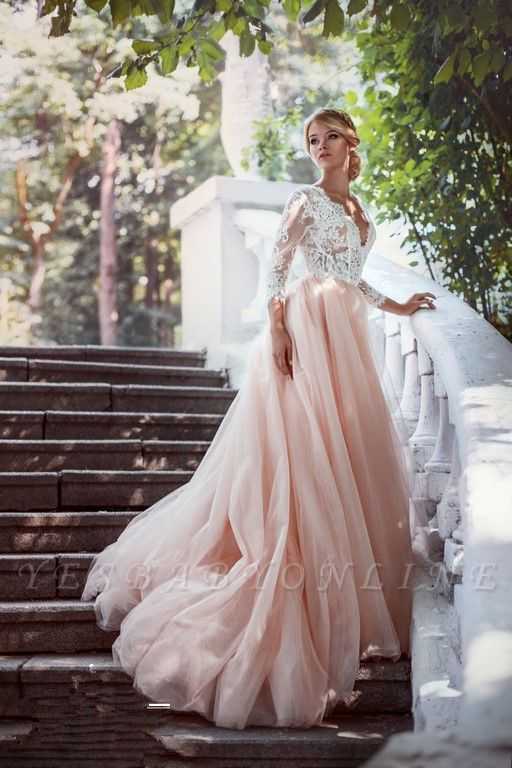 Glamorous Long Sleeves V-Neck Pink Tulle Lace A-line Wedding Dresses