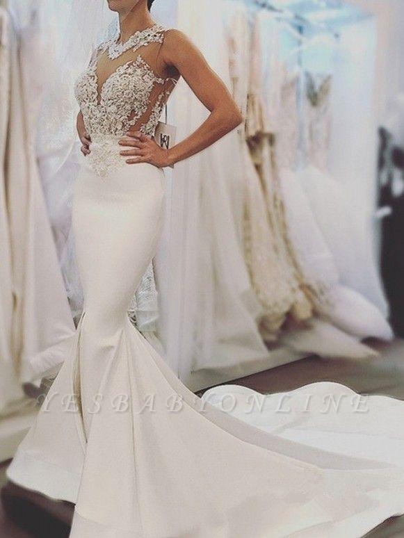 Glamorous Mermaid Backless Wedding Dresses | Zipper Sleeveless Appliques Bridal Gowns