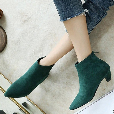 Chunky Heel Zipper Daily Pointed Toe Elegant Boots On Sale_6