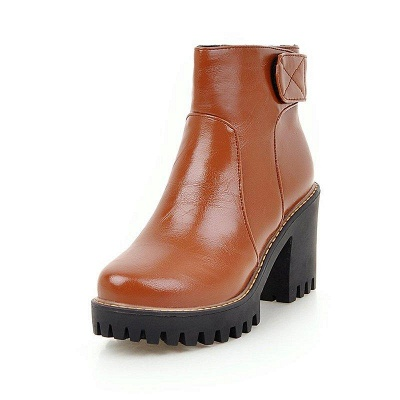 Daily Chunky Heel Zipper Round Boots On Sale_5