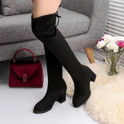 Black Suede Daily Chunky Heel Round Toe Boots On Sale_3