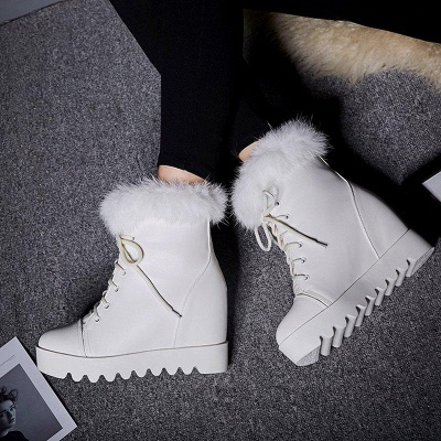 Lace-up Daily Wedge Heel Round Toe Fur Boots On Sale_1