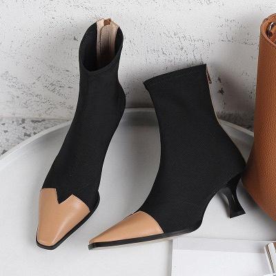 Zipper Leather Kitten Boots On Sale_4