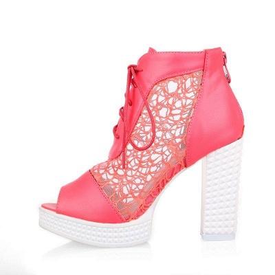 Chunky Heel Lace-up Peep Toe Boots On Sale_11