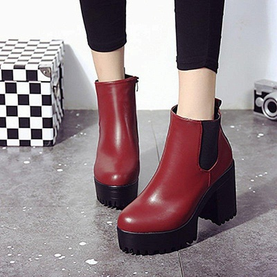 Daily Chunky Heel Round Toe Boots On Sale_3