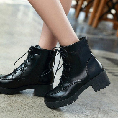 Daily Lace-up Fall PU Round Boots On Sale_6