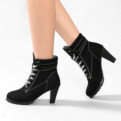 Chunky Heel PU Daily Lace-up Boots On Sale_4
