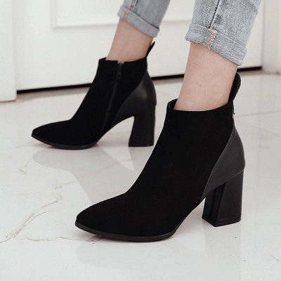 Chunky Heel Suede Elegant Round Boots On Sale_3