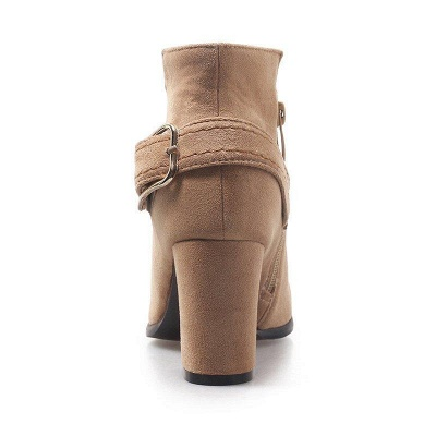 Daily Chunky Heel Suede Elegant Round Toe Boots On Sale_8