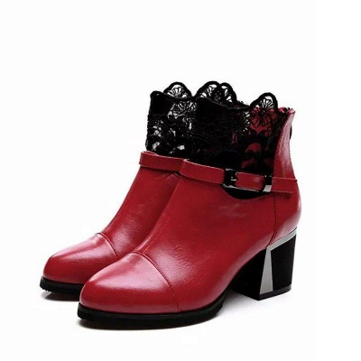 Daily Buckle Chunky Heel Pointed Toe Zipper Boots On Sale_7