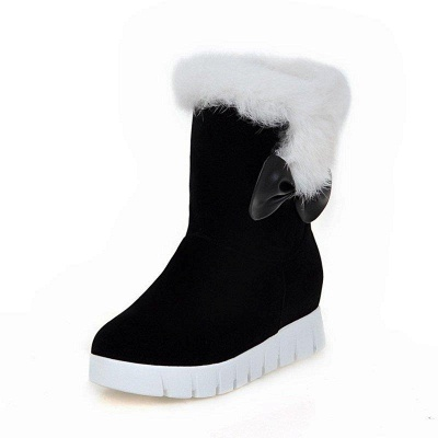 Wedge Heel Suede Fur Round Toe Boots On Sale_5
