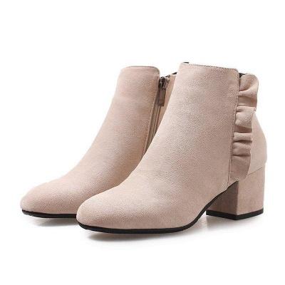 Chunky Heel Zipper Elegant Round Boots On Sale_2