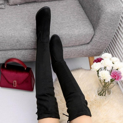 Black Suede Daily Chunky Heel Round Toe Boots On Sale_4