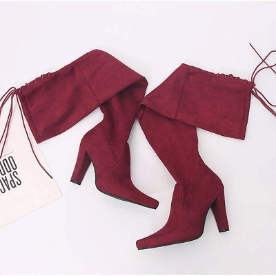 Chunky Heel Lace-up Daily Pointed Toe Elegant Boots On Sale_6