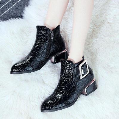 Zipper Chunky Heel Embossing Boots On Sale_5