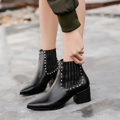 Chunky Heel Daily Pointed Toe Boots On Sale_1