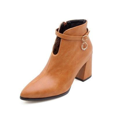 Daily PU Chunky Heel Boots On Sale_1