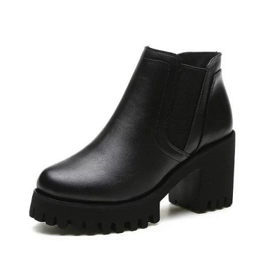 Daily Zipper Chunky Heel Round Toe Suede Boots On Sale_6