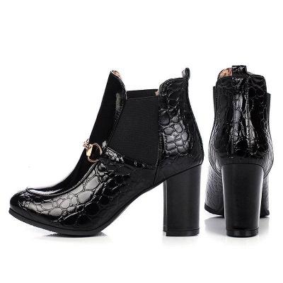 Daily Chunky Heel PU Round Boots On Sale_7