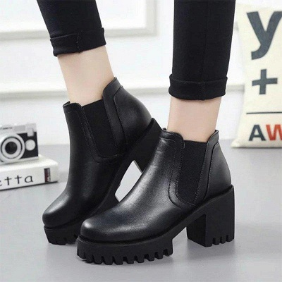Daily Zipper Chunky Heel Round Toe Suede Boots On Sale_1