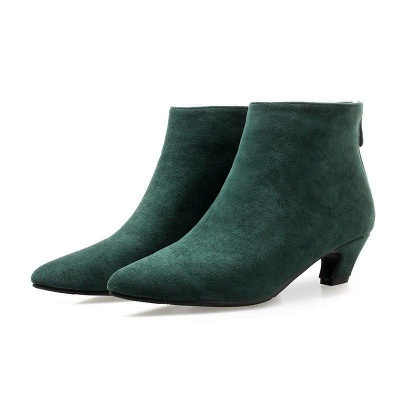 Chunky Heel Zipper Daily Pointed Toe Elegant Boots On Sale_1