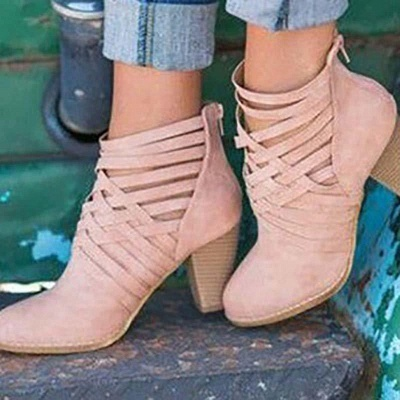 Zipper Pointed Toe Chunky Boots On Sale_2