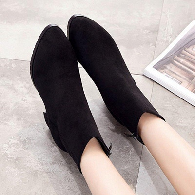 Zipper Chunky Heel Daily Pointed Toe Boots On Sale_5