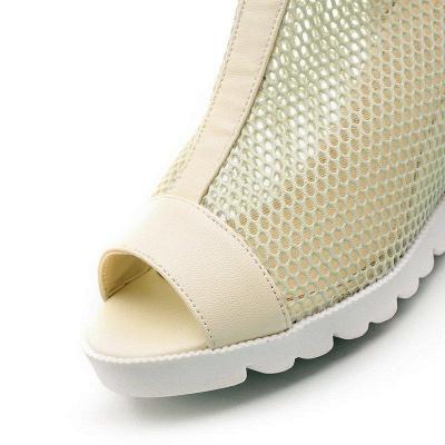 Zipper Daily Peep Toe Wedge Heel Boots On Sale_7
