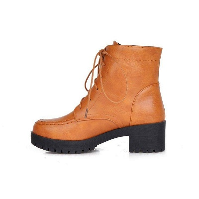 Daily Lace-up Fall PU Round Boots On Sale_9