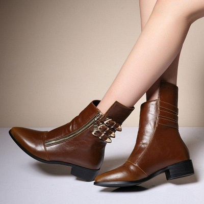 PU Chunky Heel Zipper Pointed Toe Casual Boots On Sale_1