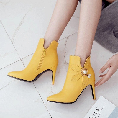 Stiletto Heel Pearl Daily Pointed Toe Elegant Boots On Sale_4