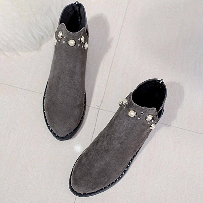 Suede Chunky Heel Daily Beading Round Toe Boot On Sale_3