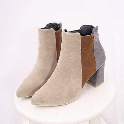 Zipper Daily Chunky Heel Pointed Toe Suede Boots On Sale_6