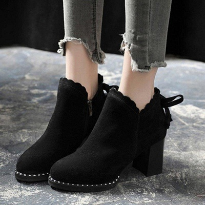 Suede Bowknot Zipper Boots On Sale_3