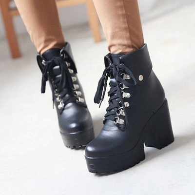 Chunky Heel Lace-up PU Daily Round Boots On Sale_2