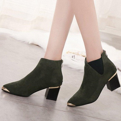 Suede Chunky Heel Pointed Toe Boots On Sale_2