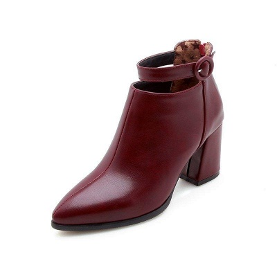 Chunky Heel PU Daily Tie Round Boots On Sale_5