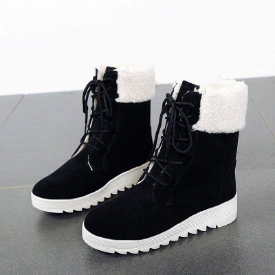 Winter Daily Wedge Heel Lace-up Boots On Sale_7