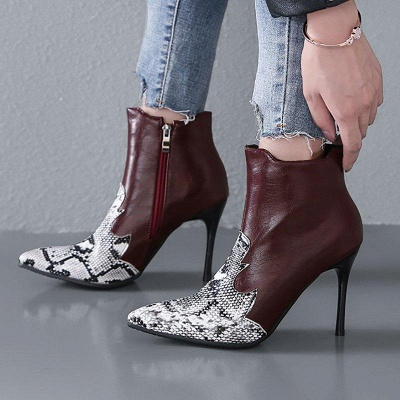 Zipper Daily Sexy Stiletto Heel Pointed Toe Boots On Sale_5