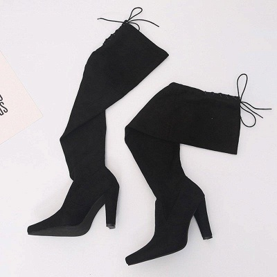 Chunky Heel Lace-up Daily Pointed Toe Elegant Boots On Sale_4