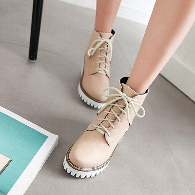 PU Lace-up Daily Round Toe Chunky Boots On Sale_3