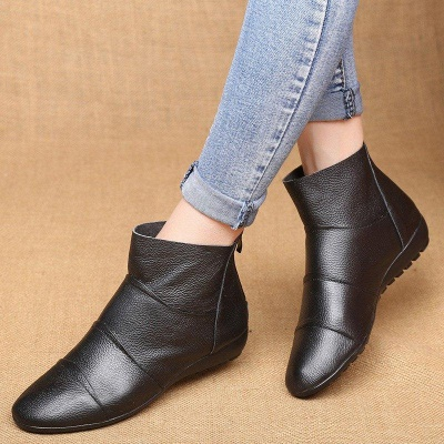 Daily Zipper Flat Heel Pointed Toe Boots On Sale_6